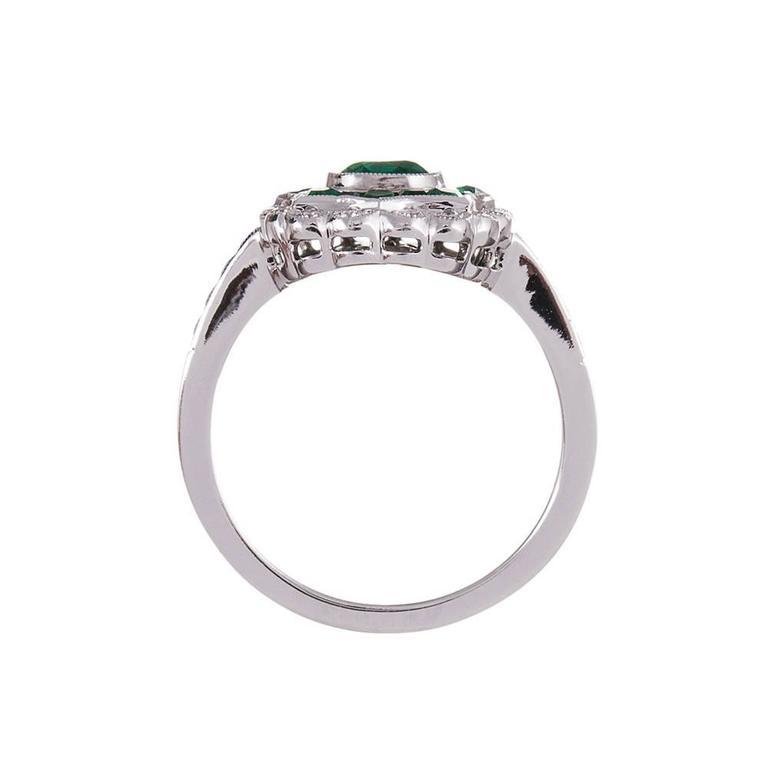 Women's Emerald Diamond Plaque Ring