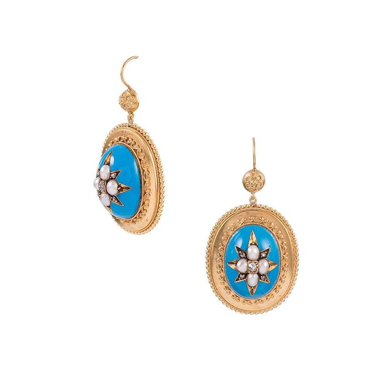 Victorian Turquoise Enamel, Pearl & Diamond Locket Pendant & Earrings Suite  In Excellent Condition For Sale In Carmel-by-the-Sea, CA