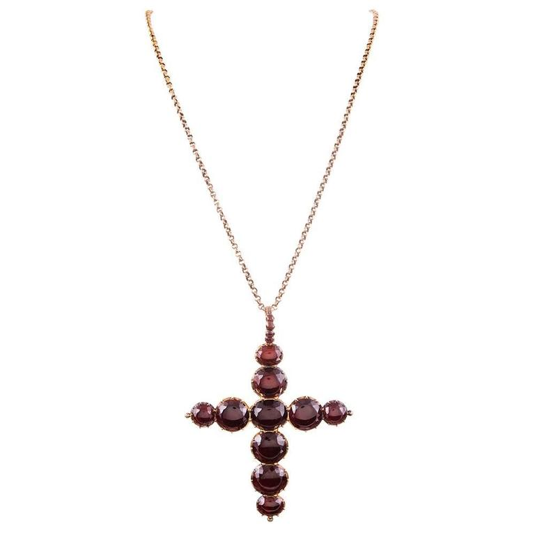 Victorian Oversized Garnet Gold Cross