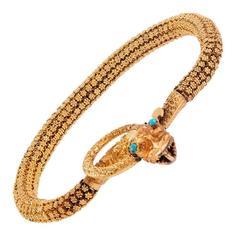Victorian Textured Gold Snake Bracelet