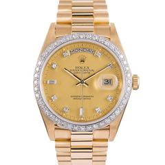 Rolex Yellow Gold Diamond All Factory Day-Date Wristwatch Ref  #18048