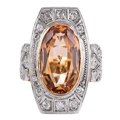 1910 Antique Edwardian 6 Carat Imperial Precious Topaz Diamond Gold Ring