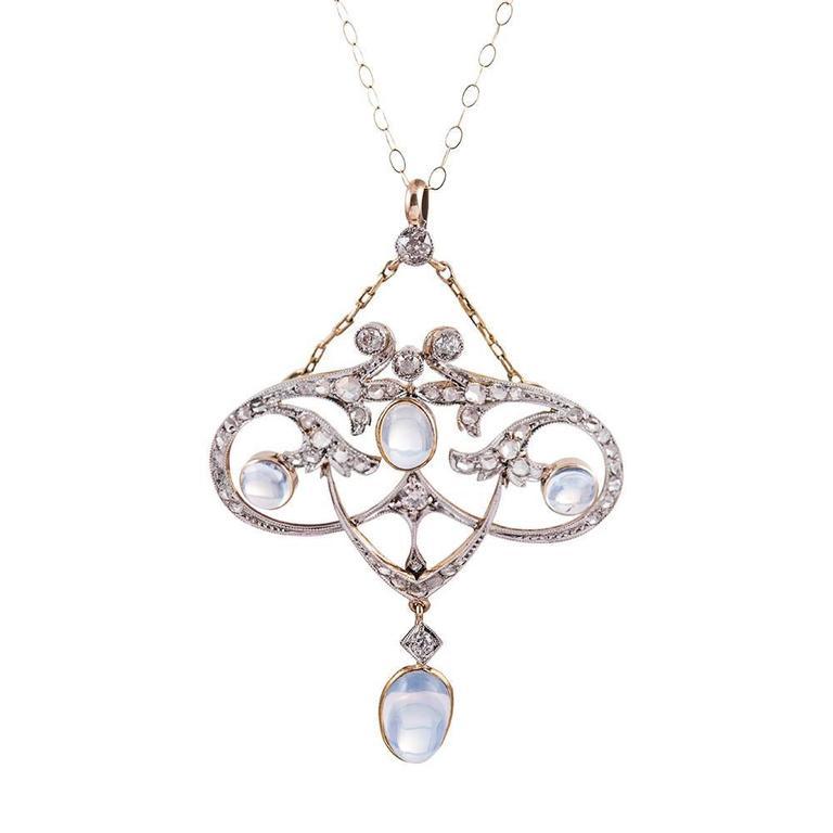 Antique Edwardian Blue Flash Moonstone Diamond gold platinum Pendant For Sale