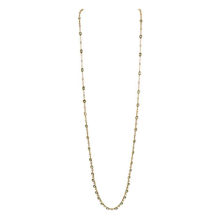 Antique Art Nouveau Demantoid Garnet Diamond Gold Chain