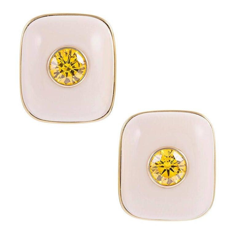 2.61 Carat Cultured Vivid Orange Yellow Diamonds in Custom Mammoth Tusk Earrings For Sale