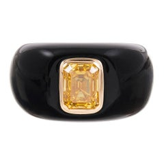 1.73 Carat Cultured Fancy Vivid Yellow Diamond in Custom Onyx Mounting