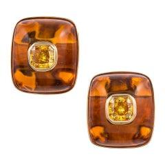 2.80 Carat Cultured Fancy Vivid Orange Yellow Diamonds in Custom Amber Earrings