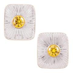 2.33 Carat Cultured Fancy Vivid Orange Yellow Diamonds Rock Crystal Earrings