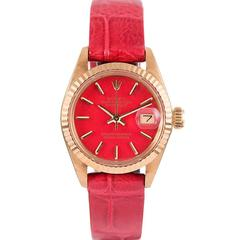Rolex Ladies yellow gold Red Stella Dial Datejust Wristwatch