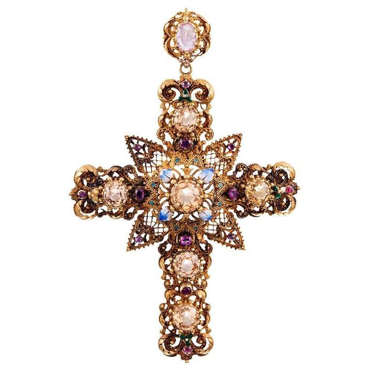 Enamel Gemstone Granulated Gold Cross Pendant For Sale