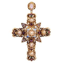 Enamel Gemstone Granulated Gold Cross Pendant
