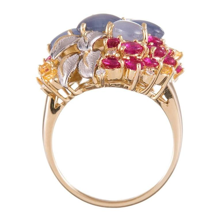 Women's Star Sapphire Ruby Yellow Sapphire Diamond Gold Floral Bouquet Ring