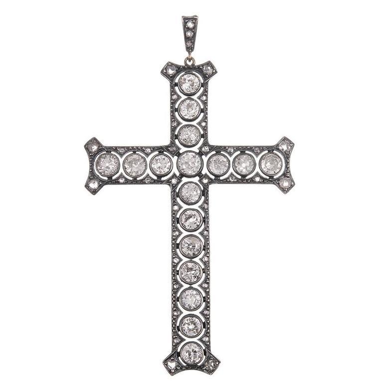 Antique Victorian Old European Cut Diamond Silver Gold Cross Pendant