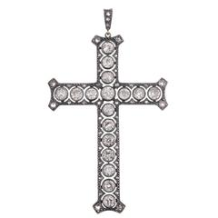 Antique Victorian Old European Cut Diamond Silver Gold Cross Pendant
