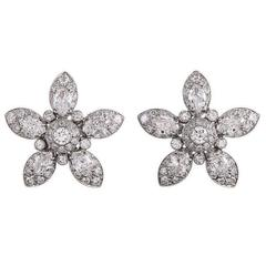 Marquise and Round Diamond Flower Earrings