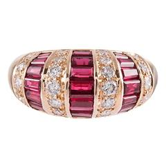 Ruby and Diamond Dome Ring, Signed Oscar Heyman