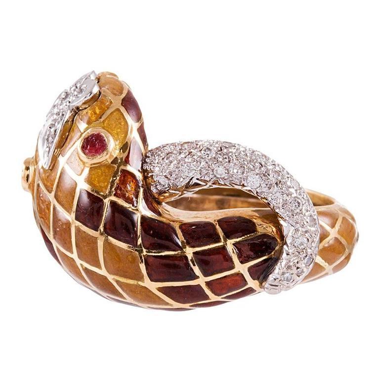 David Webb Enamel Diamond Snake Ring For Sale
