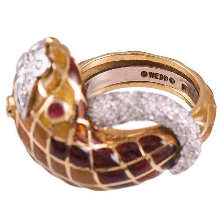 David Webb Enamel Diamond Snake Ring For Sale 1