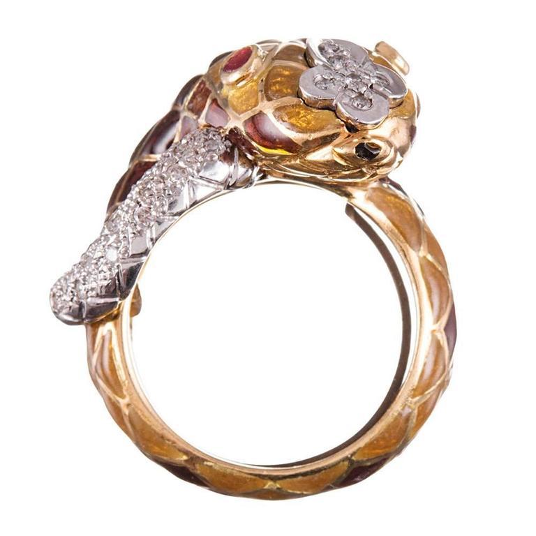 Women's or Men's David Webb Enamel Diamond Snake Ring For Sale