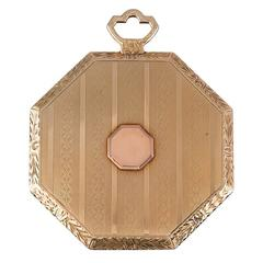 Golden Art Deco Makeup Mirror