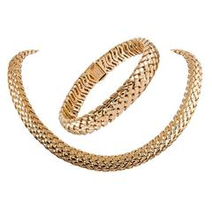 Tiffany & Co. Woven Golden Collar and Bracelet Suite
