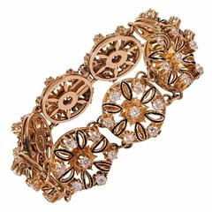 Victorian Rose Gold, Diamond and Enamel Bracelet