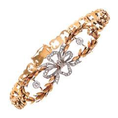 Antique Diamond Yellow Gold Bow Bracelet c1910