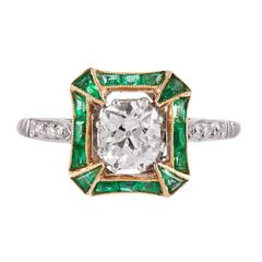 Art Deco Old Mine Cut Diamond and Emerald Solitaire Ring