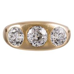 3.85 Carat Old European Cut Diamond Gypsy Ring