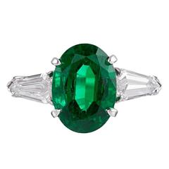 3.49 Carat Emerald Shield Diamond Platinum Ring