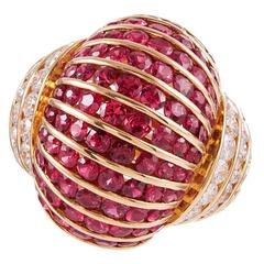 Ruby Diamond Dome Cocktail Ring