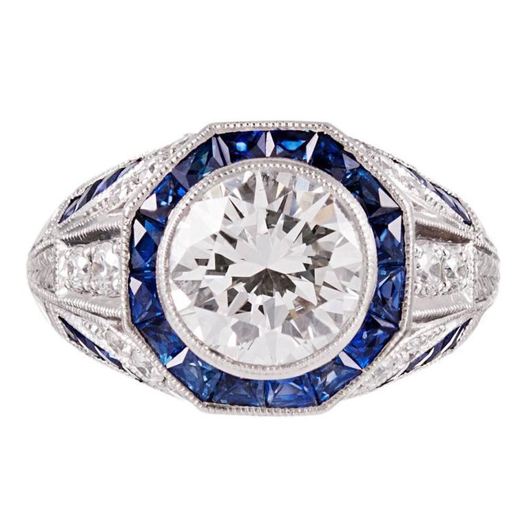 Geometric Style Carat Gia Diamond Sapphire Platinum