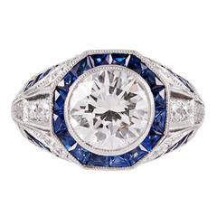 Geometric Style 2.00 Carat GIA Diamond Sapphire Platinum Trim Ring