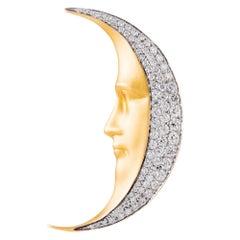 Masriera Diamond Gold Man in the Moon Brooch Pendant
