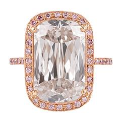 7.77 Carat Ashoka Diamond Ring with Pink Diamond Accents