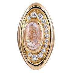 Bulgari Cabochon Rutilated Quartz Diamond Gold Ring