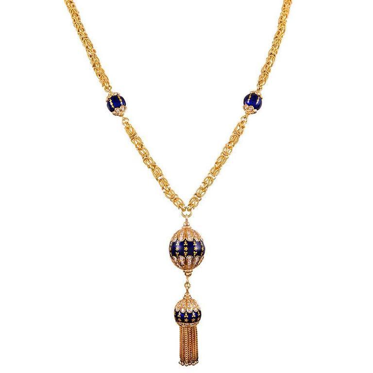 Diamond Enamel Chain with Tassel Drop