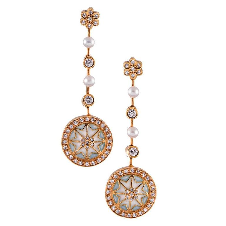 Masriera Plique a Jour Enamel Pearl Diamond Gold Earrings  For Sale