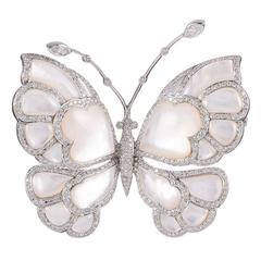 Mother-of-Pearl Diamond Butterfly Brooch