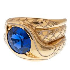 Enamel Scaled Sapphire Yellow Gold Snake Ring