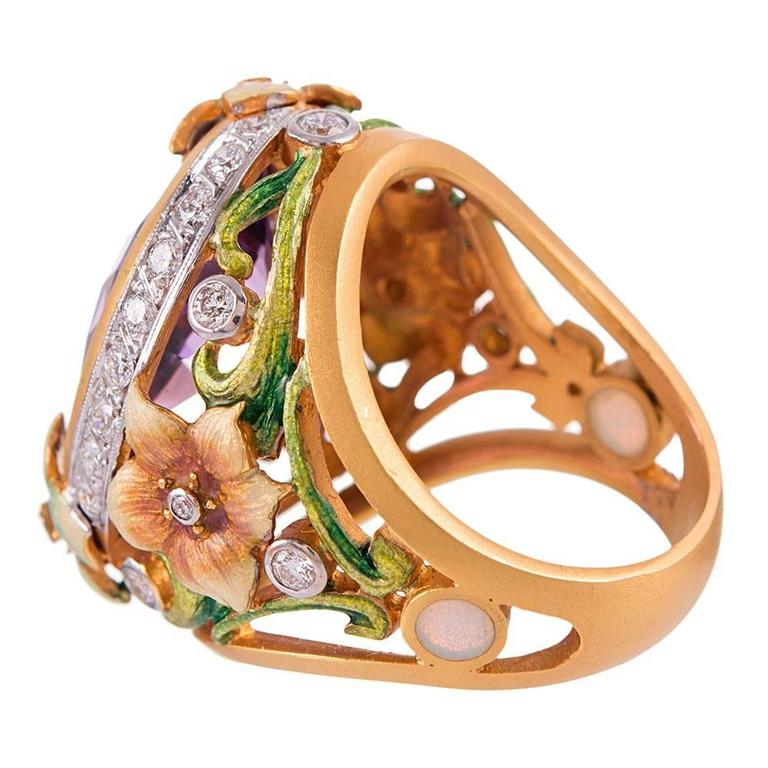 Masriera Plique a Jour Enamel 14.82 Carat Amethyst Diamond gold Ring  In New Condition For Sale In Carmel-by-the-Sea, CA