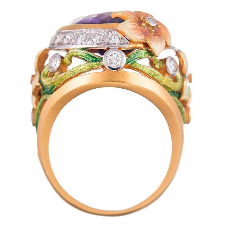 Women's Masriera Plique a Jour Enamel 14.82 Carat Amethyst Diamond gold Ring  For Sale