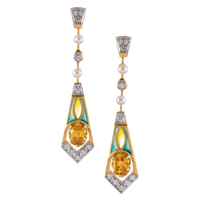 Masriera Plique a Jour Enamel Diamond Gemstone Earrings For Sale