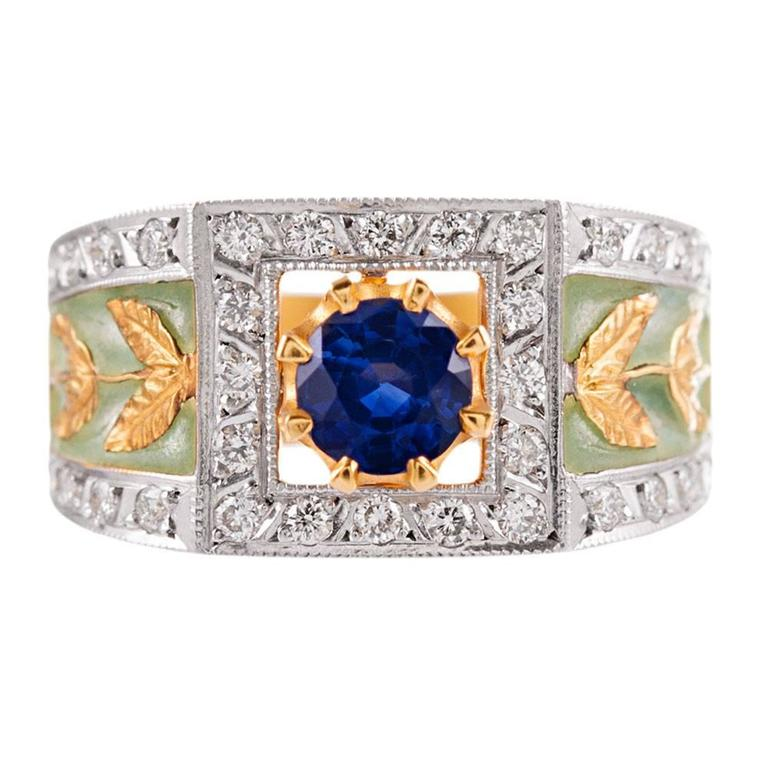 Masriera Plique a Jour Enamel Emerald Diamond Gold Ring For Sale