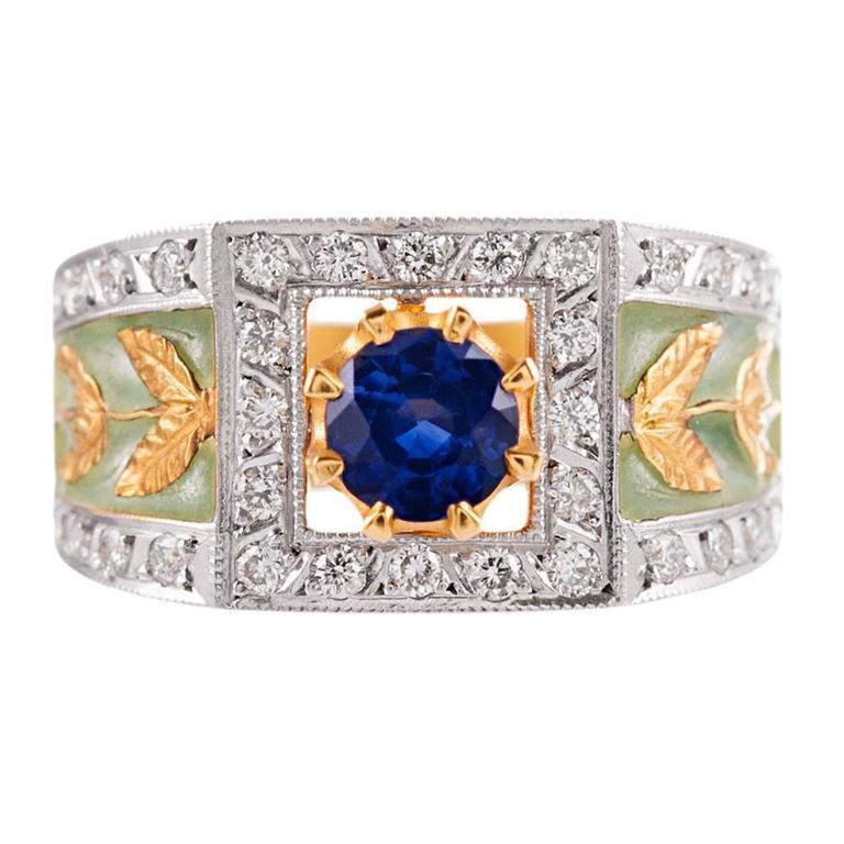 Masriera Plique a Jour Enamel Emerald Diamond Gold Ring