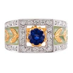 Masriera Plique a Jour Enamel Sapphire Diamond Gold Ring