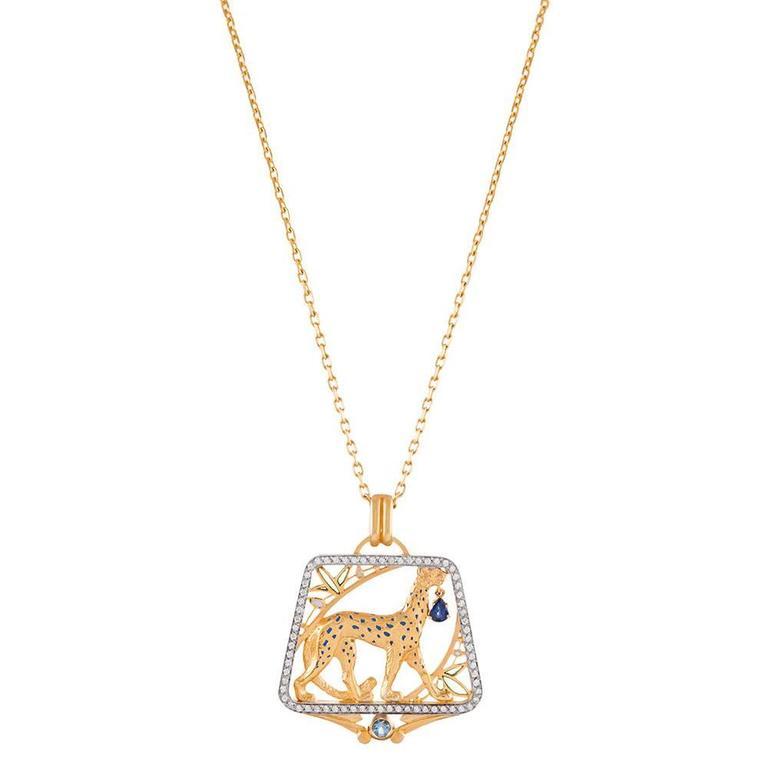 Masriera Plique a Jour Enamel Sapphire Diamond Gold Pendant For Sale