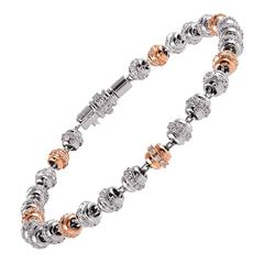 Favaro White and Rose Gold Diamond Orb Bracelet