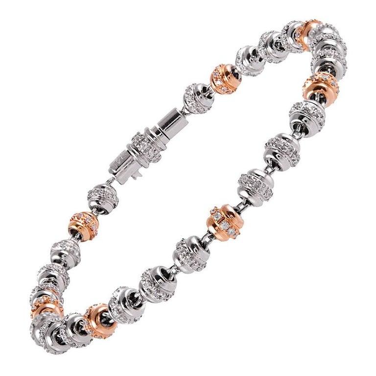 Favaro Diamond White and Rose Gold Orb Bracelet