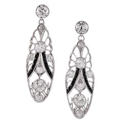Art Deco Onyx Diamond Drop Earrings